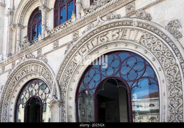 The Neo-Manueline facade of Rossio Railway Station (Estaçao de Caminhos de Ferro do Rossio) in Rossio square - Stock Image