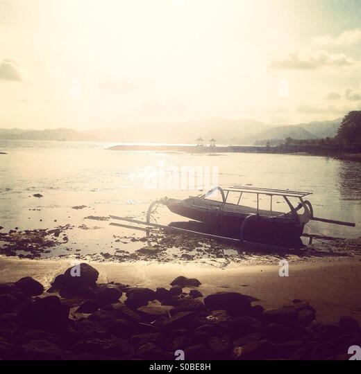 Waiting on the shore - Stock Image