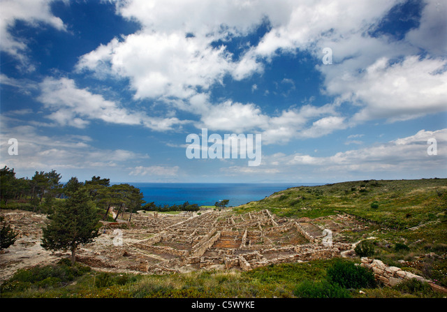 View of the archaeological site of ancient Kameiros, one of the 3 major ancient cities of Rhodes island, Greece. - Stock Image