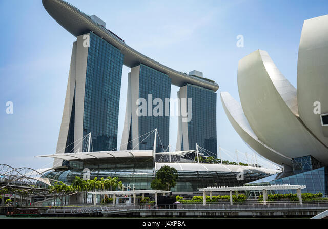 The Marina Bay Sands Hotel in Singapore - Stock-Bilder