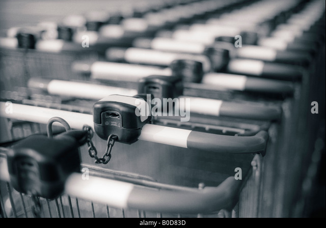 SHOPPING CARTS ROW - Stock Image