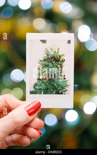 Woman holding an instant print of a christmas tree, in front of the tree - Stock Image