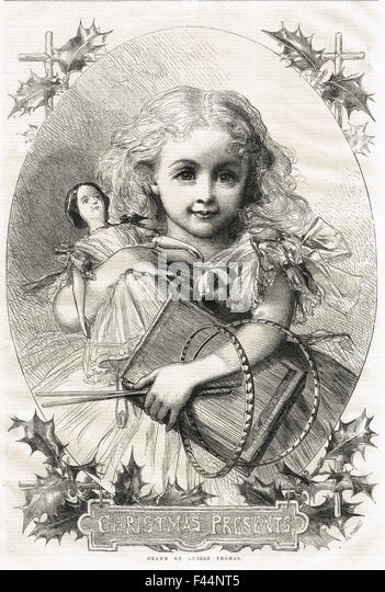 Victorian Child with her Christmas Presents 1862 - Stock Image