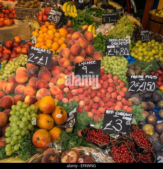 Boroughs Market, Fruits,  Gourmet Food, London United Kingdom, - Stock Image