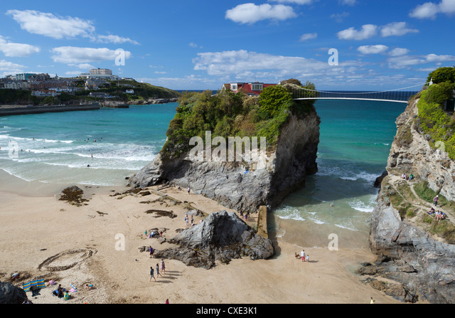 Towan beach and The Island, Newquay, Cornwall, England - Stock Image