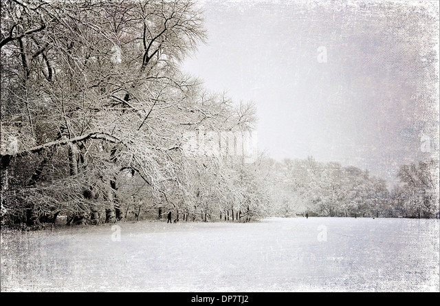 Snow covered park, with vintage look. - Stock-Bilder