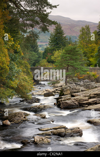 The Falls of Dochart at Killin, Loch Lomond and The Trossachs National Park, Stirling, Scotland. Autumn (October) - Stock Image