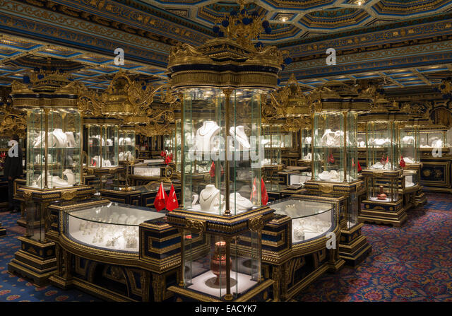 Interior, exhibition space with display cases, jewelery and gold salon, Antalya, Turkey - Stock Image