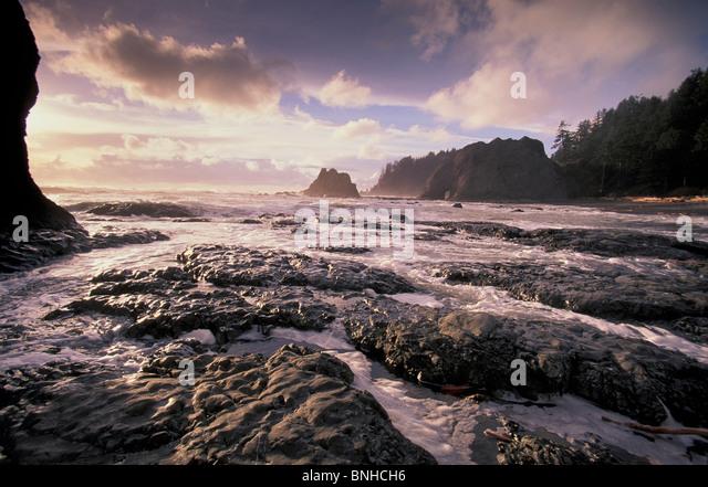 Usa Washington Rialto Beach Olympic National Park Washington State Surf Coast Sea Ocean Nature Landscape Scenery - Stock Image