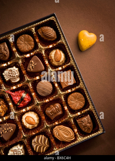 Chocolate box close-up - Stock Image