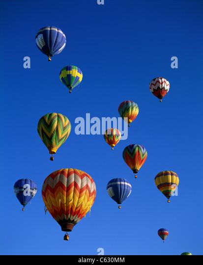 Colourful Hot Air Balloons in Sky, Albuquerque, New Mexico, America - Stock Image