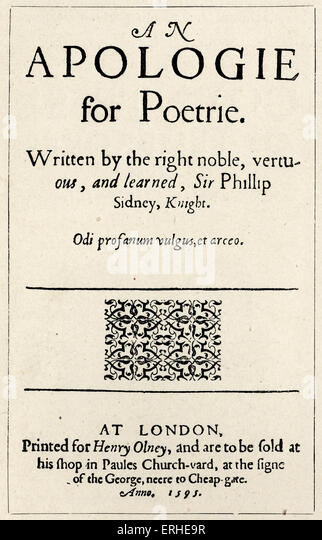 Sir Philip SIDNEY - ' Apologie for Poetrie ', a treatise defending poetry.  Title page, 1595. Apology for - Stock Image