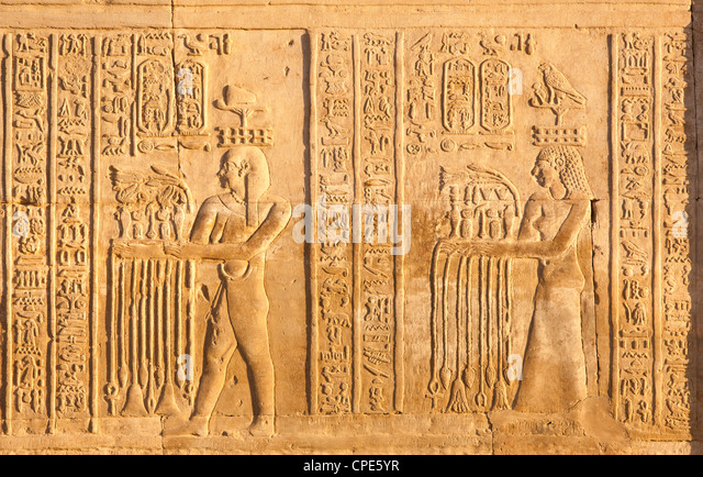 Relief at the twin Temple of Sobek and Haroeris, Kom Ombo, Egypt, North Africa, Africa - Stock Image