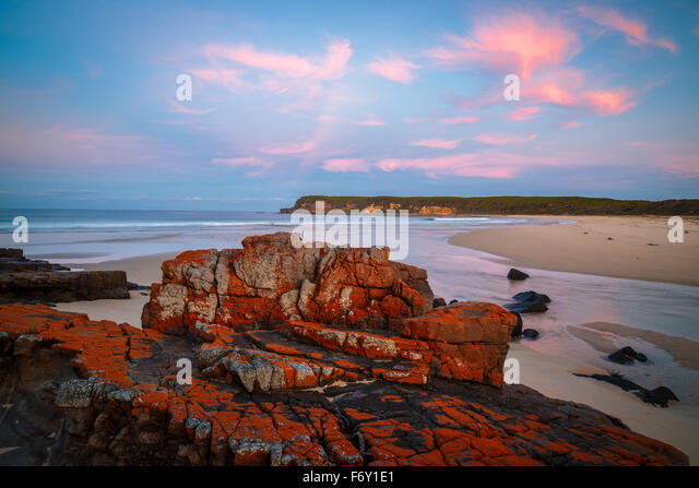 Sunset on the wild Nadgee Coast, NSW - Stock Image