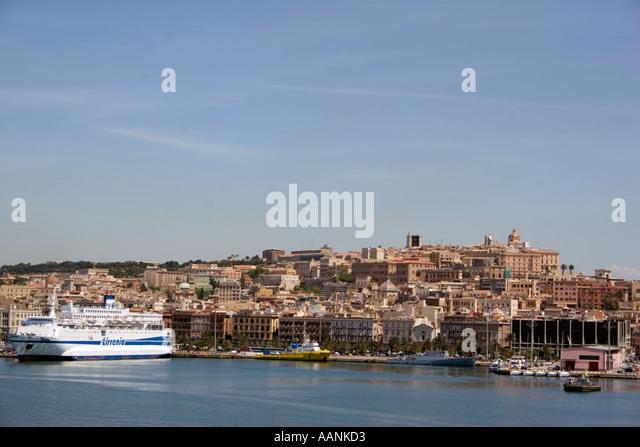 Cagliari Port, Sardinia, Europe,  landmark harbour harbor boat ship skyline holiday vacation destination outside - Stock Image