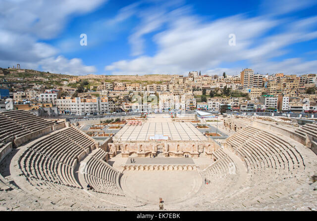 Amman, Jordan - March 22,2015: Tourists in the Roman amphitheatre of Amman, Jordan - Stock Image