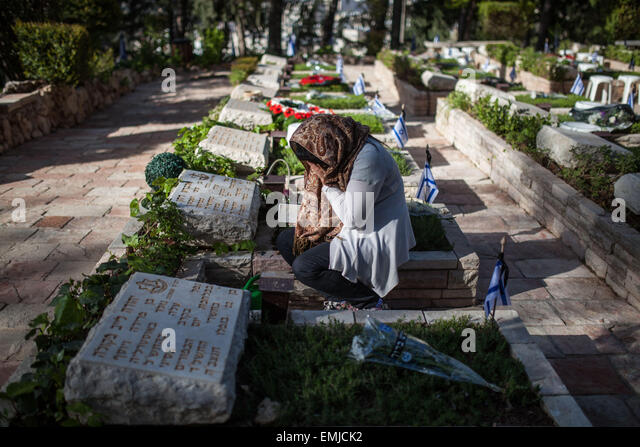 Jerusalem, Israel. 21st Apr, 2015. Nurit the sister of IDF Sergeant ALBERT DAHAN who was killed in action during - Stock Image