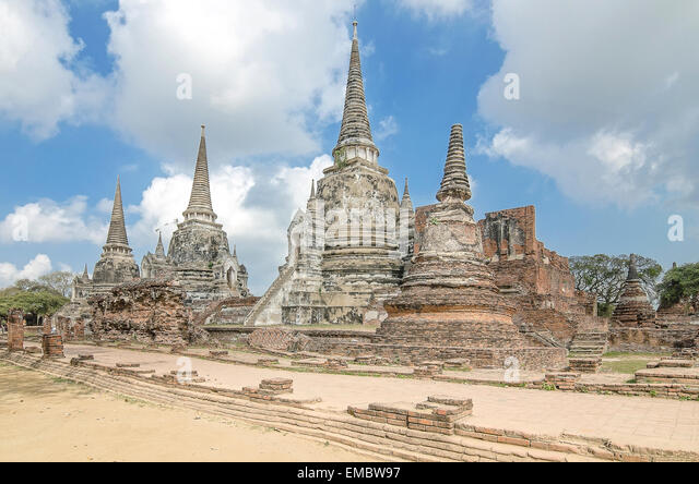 Old Temple Architecture , Wat Phra si sanphet at Ayutthaya, Thailand, World Heritage Site - Stock-Bilder