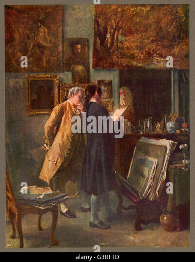THE PRINT COLLECTOR         Date: 18th century - Stock Image