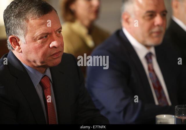 New York, USA. 23rd September, 2014. King Abdullah II of Jordan meets with U.S. President Barack Obama and senior - Stock Image