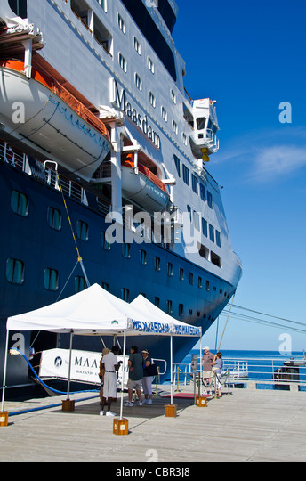 Holland America Maasdam at Roseau Dominica cruise ship pier Eastern Caribbean cruise port - Stock Image