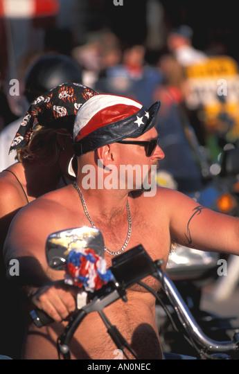 Daytona Beach Florida fl bike week bare chested biker - Stock Image