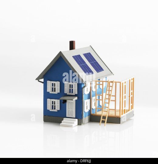 model of traditional house with terrace extension - Stock Image