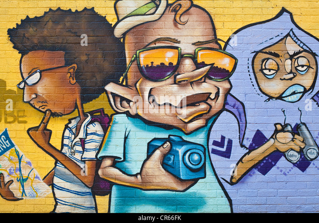 South Africa, Gauteng Province, Johannesburg, painted wall - Stock Image
