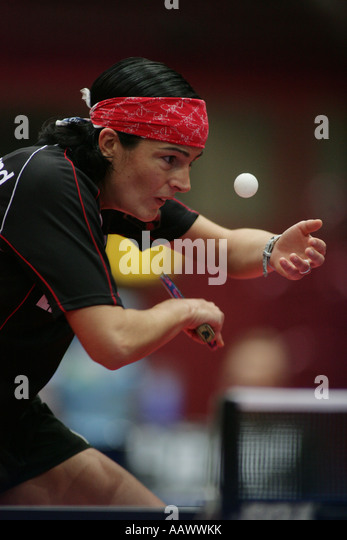 Table tennis player from the german national team Nicole Struse - Stock Image