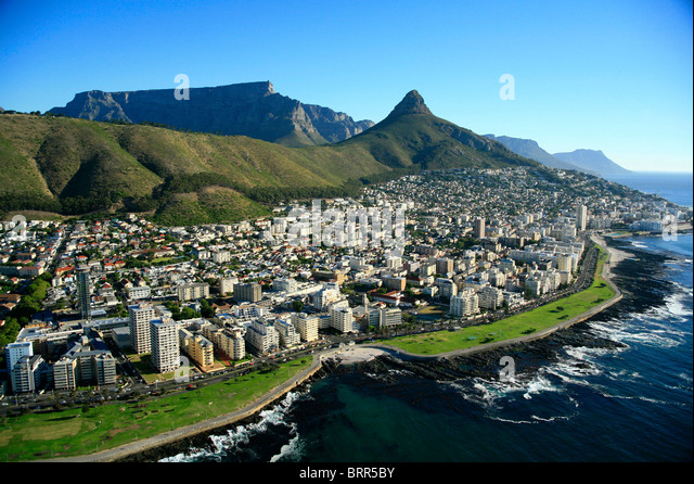Aerial view over Sea Point buildings with Lions Head and Table Mountain in the background - Stock Image