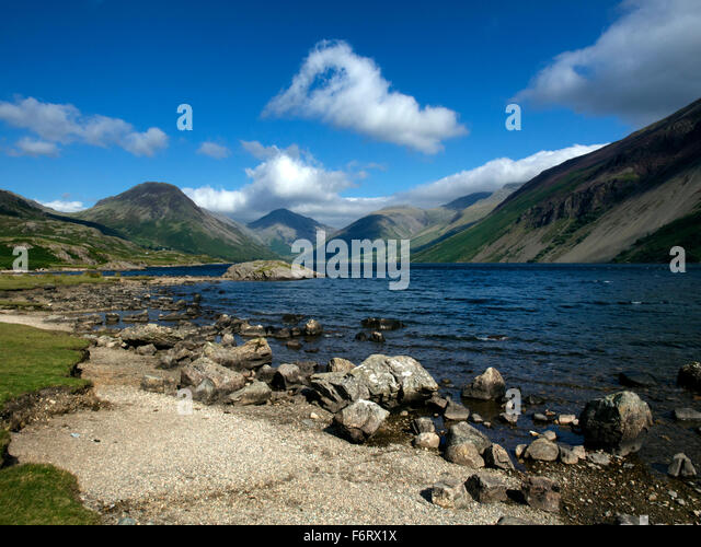 View to Wasdale Head over Wast Water in the English Lake District - Stock Image