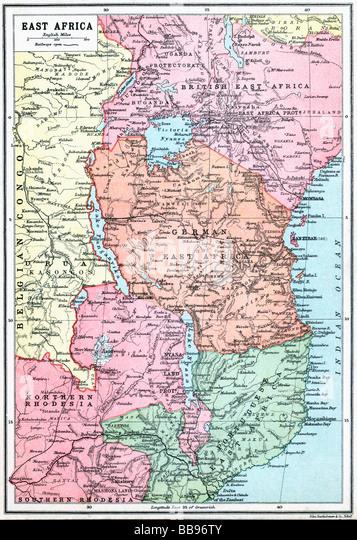Map of East Africa at beginning of First World War. - Stock-Bilder