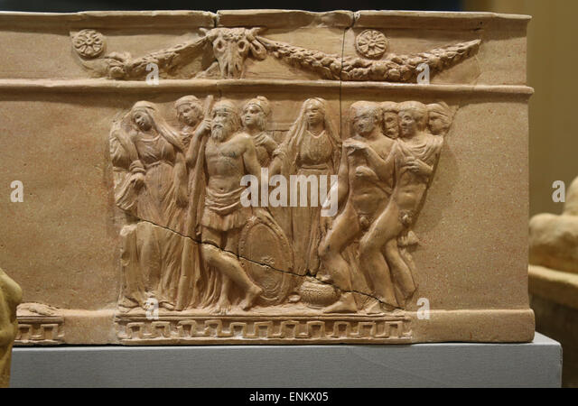 Urn of classical inspiration with scenes from the myth of Iphigenia miniature altar with double echinus. 5th century - Stock Image