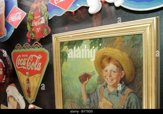 Atlanta Georgia World of Coca-Cola Pemberton Place company museum exhibition display memorabilia historical advertising - Stock Image