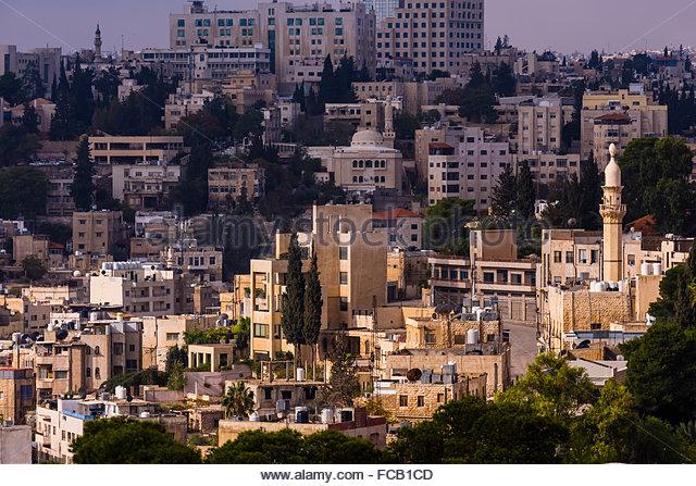 Views of the city from the Amman Citadel, Amman, Jordan. - Stock Image