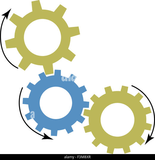Mechanism of gears. Cogwheel and machine work, machinery industrial, mechanical order, vector art design abstract - Stock Image