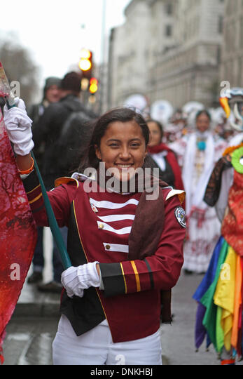 London,UK,1st January 2014,Flag bearers at the London's New Year's Day Parade 2014 Credit: Keith Larby/Alamy - Stock Image