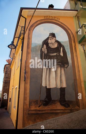 Murales, wall painting, Fonni village, Nuoro Province, Sardinia, Italy - Stock Image