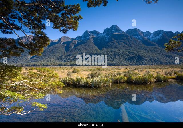 Mirror Pools, Fjordland National Park, South Island, New Zealand - Stock Image