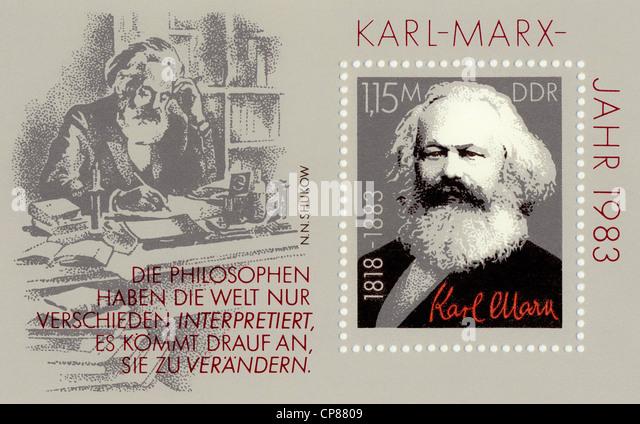 Historic postage stamps of the GDR, political motives, Historische Briefmarke der DDR, Karl-Marx-Jahr, Deutsche - Stock Image