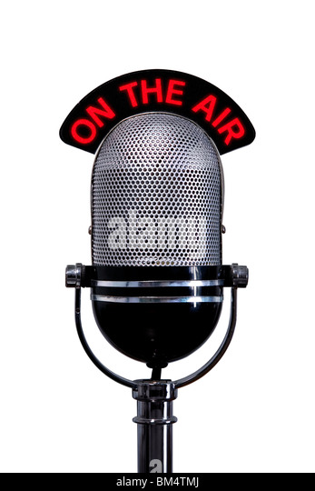 Retro microphone with On the Air sign, isolated on a white background. - Stock Image