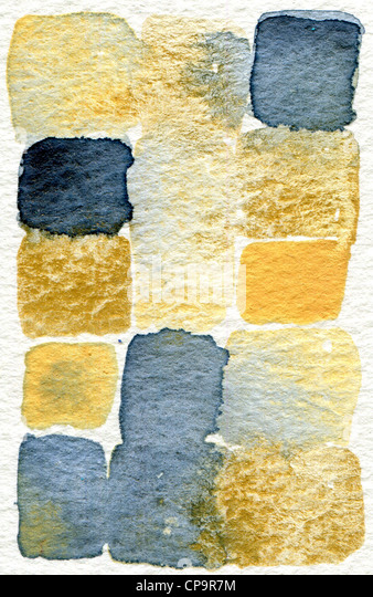 watercolor abstract painting in blue, gold and cream suitable for use as a textured background - Stock Image