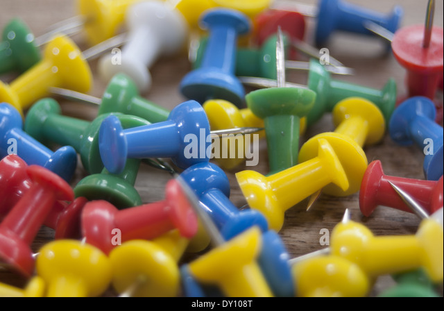 colored drawing pin - Stock Image