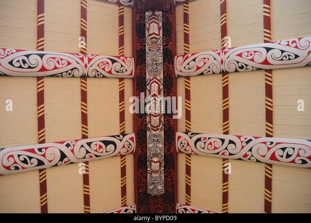 Maori architecture details, the roof of the Wharenui, Ohinemutu village, Rotorua. - Stock-Bilder