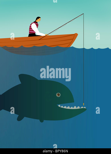 A businessman on a boat trying to catch a big fish - Stock Image