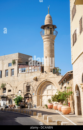 street with minaret in tel aviv old town israel - Stock Image