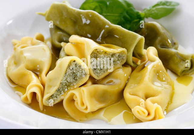 Stuffed pasta in plate, close up - Stock-Bilder