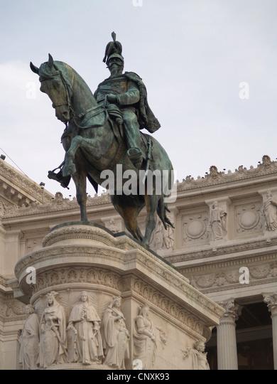 Equestrian statue of Vittorio Emanuele II,Vittorio Emanuele II Monument,Rome - Stock Image