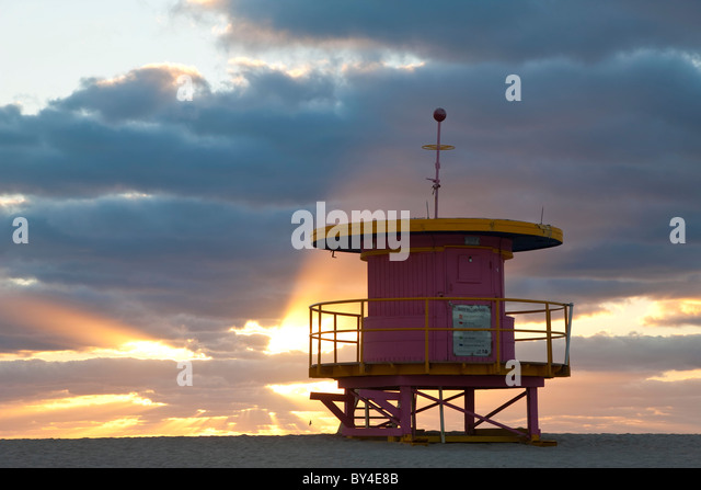 Lifeguard hut, South Beach, Miami, Florida, USA - Stock Image