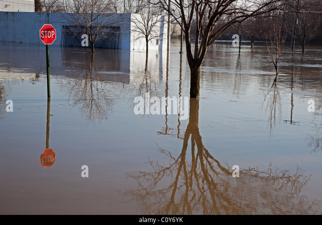 Findlay, Ohio - After heavy rain and snow melt, the Blanchard River overflows its banks. - Stock Image